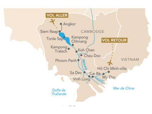 Itinéraire de Croisière les joyaux du Mékong, au départ de Genève