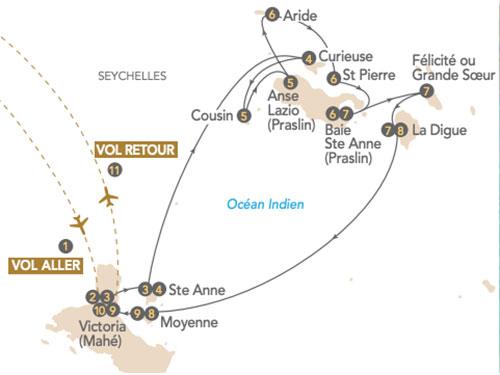 Itinéraire de Seychelles, perle colorée : départ Genève