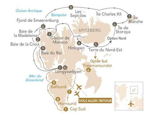 Itinéraire de Spitzberg & Arctique 2021