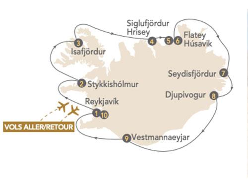 Itinéraire de La croisière Islande, terre de glace et de feu, au départ de Genève