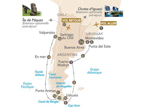 Itinéraire de Patagonie au départ de Genève : Argentine - Uruguay - Chili