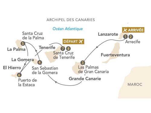 Itinéraire de L'archipel des Canaries, au départ de Genève