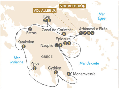 Itinéraire de Croisière Péloponnèse, à la découverte de la Grèce antique (juin 2021)