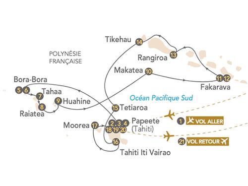 Itinéraire de La Polynésie en croisière 2022