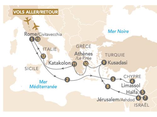Itinéraire de Croisière Merveilles en Méditerranée
