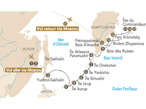 Itinéraire de Ceinture de feu, îles Kouriles et Kamtchatka en 2022