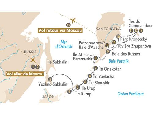 Itinéraire de Ceinture de feu, les îles Kouriles et Kamtchatka