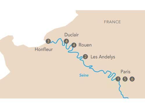 Itinéraire de Croisière au fil de la Seine