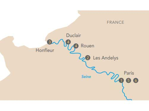 Itinéraire de Croisière histoire sur la Seine