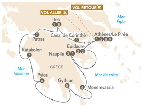 Itinéraire de La croisière Péloponnèse, à la découverte de la Grèce antique