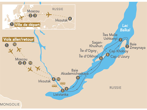 Itinéraire de Croisière sur le lac Baïkal perle de la Sibérie