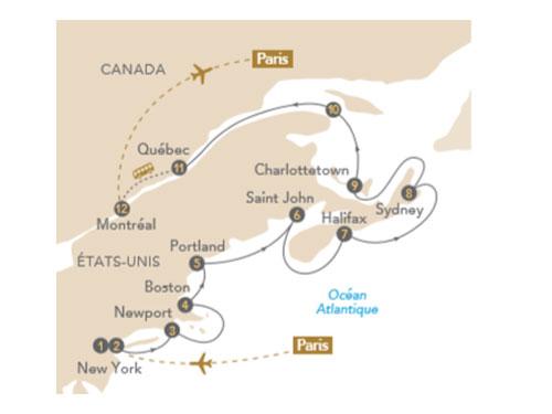 Itinéraire de Croisière Nouvelle-Angleterre et Québec