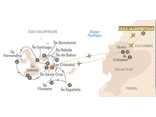 Itinéraire de Voyage aux îles Galápagos