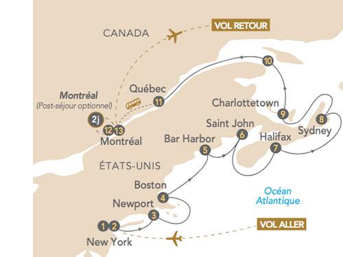 Itinéraire de La Nouvelle-Angleterre et le Québec en croisière