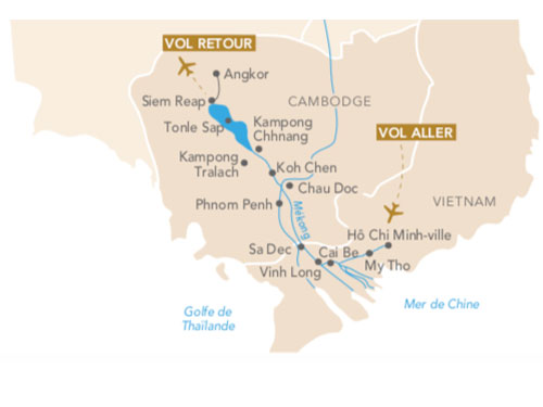 Itinéraire de Croisière Au fil du Mékong avec Géo