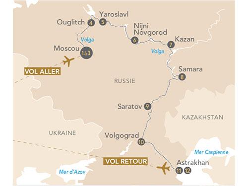 Itinéraire de Croisière Au fil de la Volga, de Moscou à Astrakhan