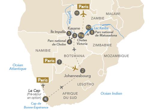 Itinéraire de Afrique australe : terre mosaïque