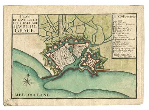 Plan de la Ville et Citadelle du Havre de Grace - Vers 1701. Source : Les archives du Havre