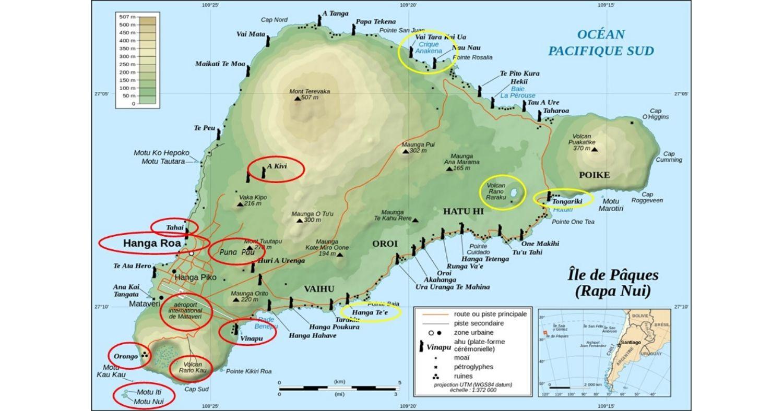 Carte géographique de l'Île de Pâques