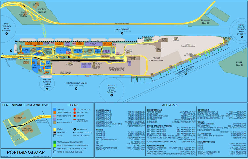 Le plan du port de Miami